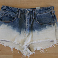 Bleach Dip dye high waisted shorts