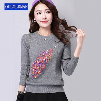 Women Sweater Pearl Beading Pullover Autumn Winter Knitted Warm Feather Pattern Jumper Long Sleeve Cotton Jacket Camisola Sueter