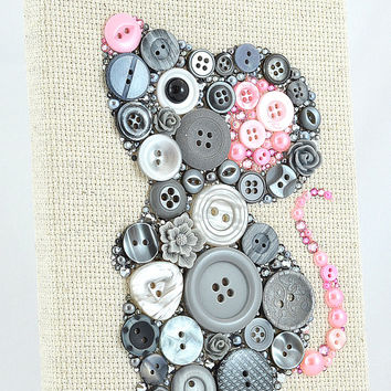 Matilda the Grey Mouse - Button Art Vintage Buttons Swarovski Rhinestones Pearl Cabochons