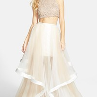 Women's Terani Couture Beaded Top & Organza Two-Piece Ballgown,