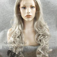 "26 inch Heat Safe Synthetic Lace Front in Curly Texture ""Calypso"" in Gray/Silver"