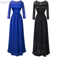 Angel-Fashions 3/4 Sleeves Lace Round Neck Pleat Criss-Cross Long Bridesmaid Dress Blue Black robe de soiree 013