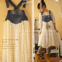 New landscape looks like. Fun layering. Antique denim and casually is Angel ミルクレース wood ガールサロペットワン piece vintage feeling nice and lovely. () Forest girl