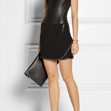 Diane von Furstenberg | Karina leather-trimmed crepe mini skirt | NET-A-PORTER.COM