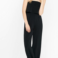 Black Strapless Flounce Jumpsuit from EXPRESS