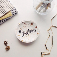 Girl Boss Jewelry Dish/ White and Gold Jewelry Dish/ Modern Jewelry Dish/ Black White Gold