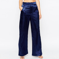 Blue High Waist Double Pocket Wide Leg Pants