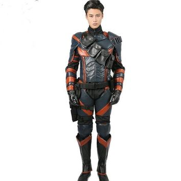Deathstroke Costume Batman Arkham Knight Cosplay Deluxe PU Leather Armor Outfits Superhero Suit