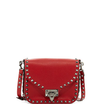 Valentino Rockstud Flap-Top Leather Shoulder Bag, Red (Rosso)