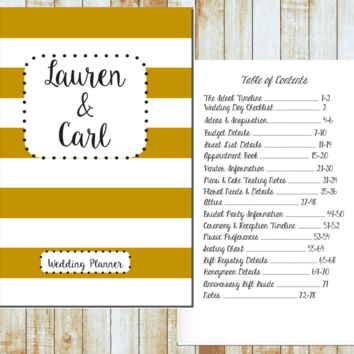 Personalized Wedding Planner- Gold Stripe