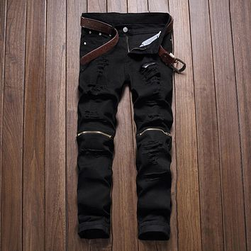 2016 New Mens Knee Zipper Jeans Destroyed Ripped Hole Jeans Nightclubs Skinny Denim Pants Army Green Red stretch fabric pants