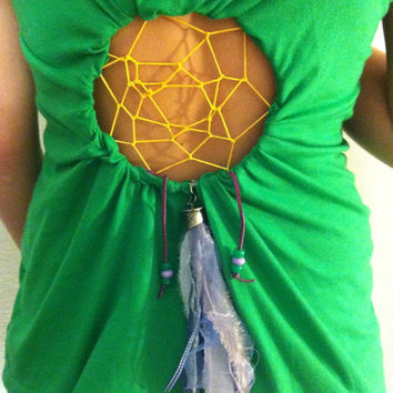 Green Dreamcatcher shirt by Handspunhomegoods on Etsy