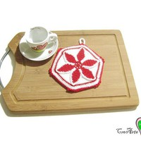 Red and White crochet potholder - Presina bianca e rossa all'uncinetto