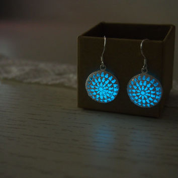 Glow in the dark Jewelry, 'Glow- in- the- dark' Earrings, Glowing Earrings, Sterling silver plated Earrings