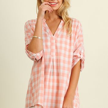 Pink Checkered Tunic Top