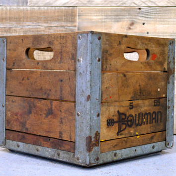 Vintage Wood Crate, Bowman Crate, Antique Milk Crate, 1960s, Wooden Crate, Wood Box