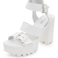 White Leather Strappy Chunky Platform Heels