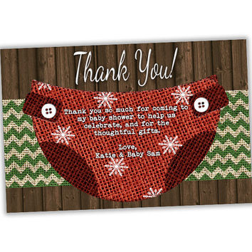 Christmas Baby Shower Thank You Cards - Diaper Thank You Tags - Snowflake Baby Shower - Burlap Country Diaper Party Favor Tag - Boy Girl Red