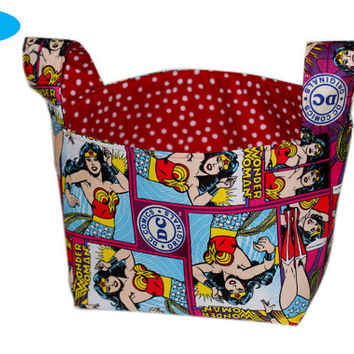 NEW Bedroom Storage Bin | Wonder Woman | Girl's Bedroom Storage Basket | Fabric Storage Bin