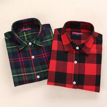 New Womens Flannel Shirt Women Long Sleeve Blouse Winter Flannel Plaid Shirt Female Red Plaid Shirt Womens Winter Clothes 2016