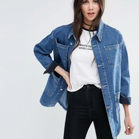 ASOS | ASOS Denim Workwear Jacket in Mid Stonewash Blue at ASOS