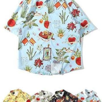 Mens Retro Frida Kahlo Printed Shirt - 4 Colors
