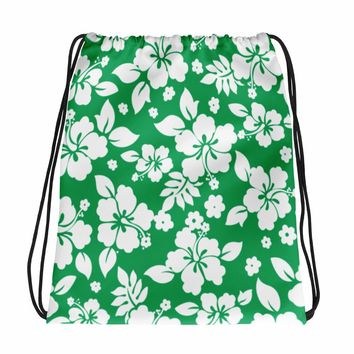 Hawaiian Tropical Hibiscus Green and White Pattern Drawstring bag