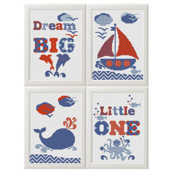 Dream big little one cross stitch pattern Baby, dolphin octopus Boat Whale Nautical cross stitch Nursery cross stitch summer home decor