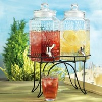 Del Sol Hammered Glass Double Drink Dispenser on Stand:Amazon:Kitchen & Dining