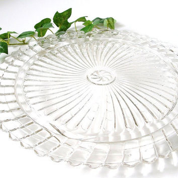 Vintage Glass Cake Plate Cupcakes Heavy Serving Platter