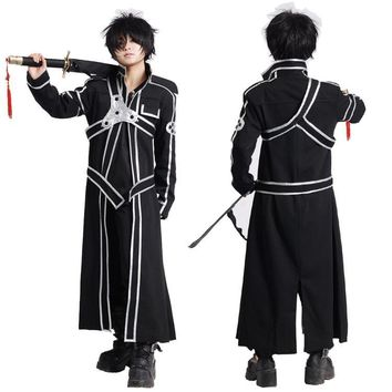 Sword Art Online SAO Kirito Kirigaya Kazuto Cosplay Costumes Long Overcoat Black Cloak