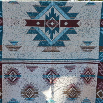 Vintage Southwestern Throw Lap Blanket Southwestern Wall Tapestry Turquoise Rust Earth Tones