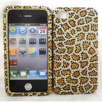 Bling Cell Phone Case and Cover Gold Leopard Cheetah Snap on Hard Faceplate Bumper Rhinestone Crystal Bling Jeweled Skin and Bling Home Button