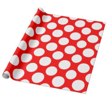 Modern Bright Red White Polka Dots Pattern Gift Wrapping Paper