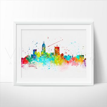 Indianapolis Skyline Watercolor Art Print