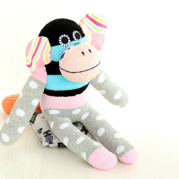 Handmade  Socks Monkey for kids  Stuffed Animal  baby  Plush Toy  sock doll   Ready to Ship  3#