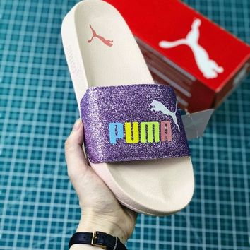 Puma shining color letters thick base cool slippers Sequin B-MDTY-SHINING Purple