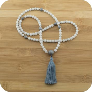 Moonstone Mala with Matte Gray Druzzy Agate