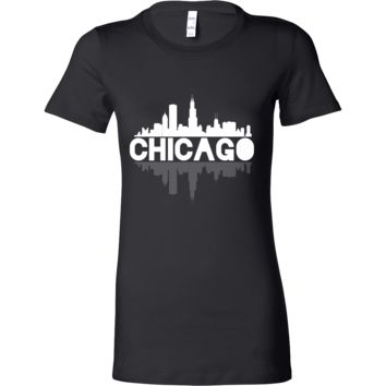 Chicago City Skyline Landmark U.S.A Souvenir Travel Bella T-shirt