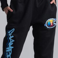 Champion Women's Reverse Weave Graffiti Jogger in Black
