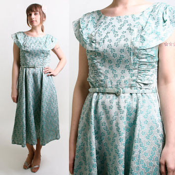 Vintage 1960s Dress  Floral Metallic Brocade Aquamarine by zwzzy