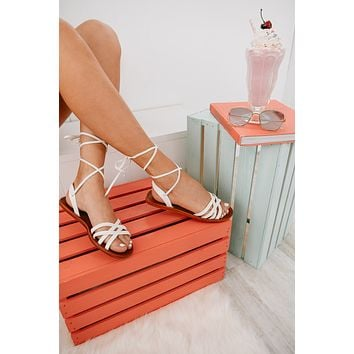 On A Journey Ankle Wrap Sandals (White)