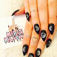 x Misty Moon x moon phases black matte nails kiris klaws hand painted false glue on nails