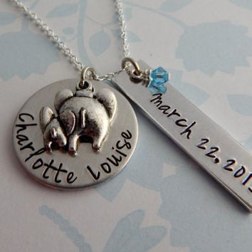 Hand Stamped Custom Necklace with Mom and Baby Elephant Charm Birthstone and Birth Date / New Mom / Mom Necklace / Grandmother Necklace