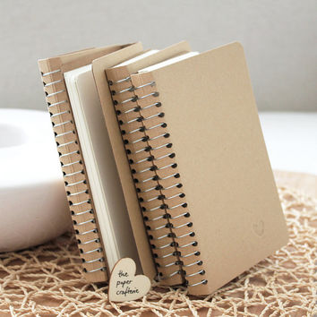 Kraft Notebook Small Blank Spiral Bound Journal Diary Pocket Memo Book
