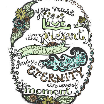 Live in the Present - Thoreau Quote Hand-Lettered Nature Illustration Print - 8x10