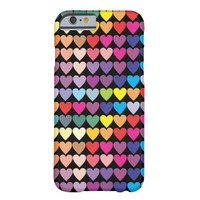 Rainbow Hearts Pattern Barely There iPhone 6 Case
