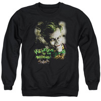 BATMAN AA/WELCOME TO THE MADHOUSE - ADULT CREWNECK SWEATSHIRT - BLACK -