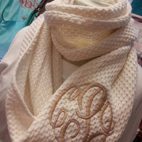NEW Style Ivory Infinity Scarf  Monogram Font Shown MASTER CIRCLE