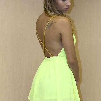 Chain Strappy Romper - Neon Yellow